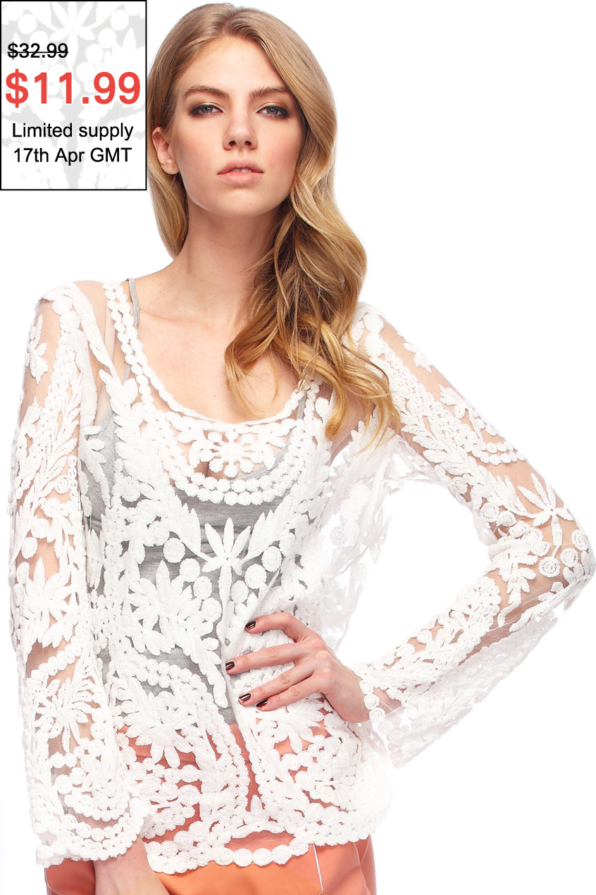 ROMWE | ROMWE Hollow-out Lace Crochet White Blouse, The Latest Street Fashion