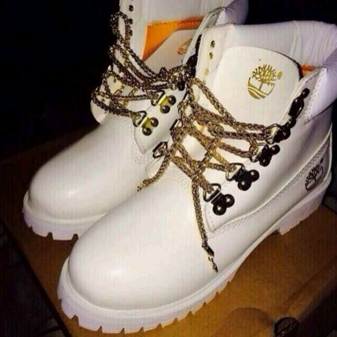 White Gold Diamond Rings: White Timberland Boots With Gold