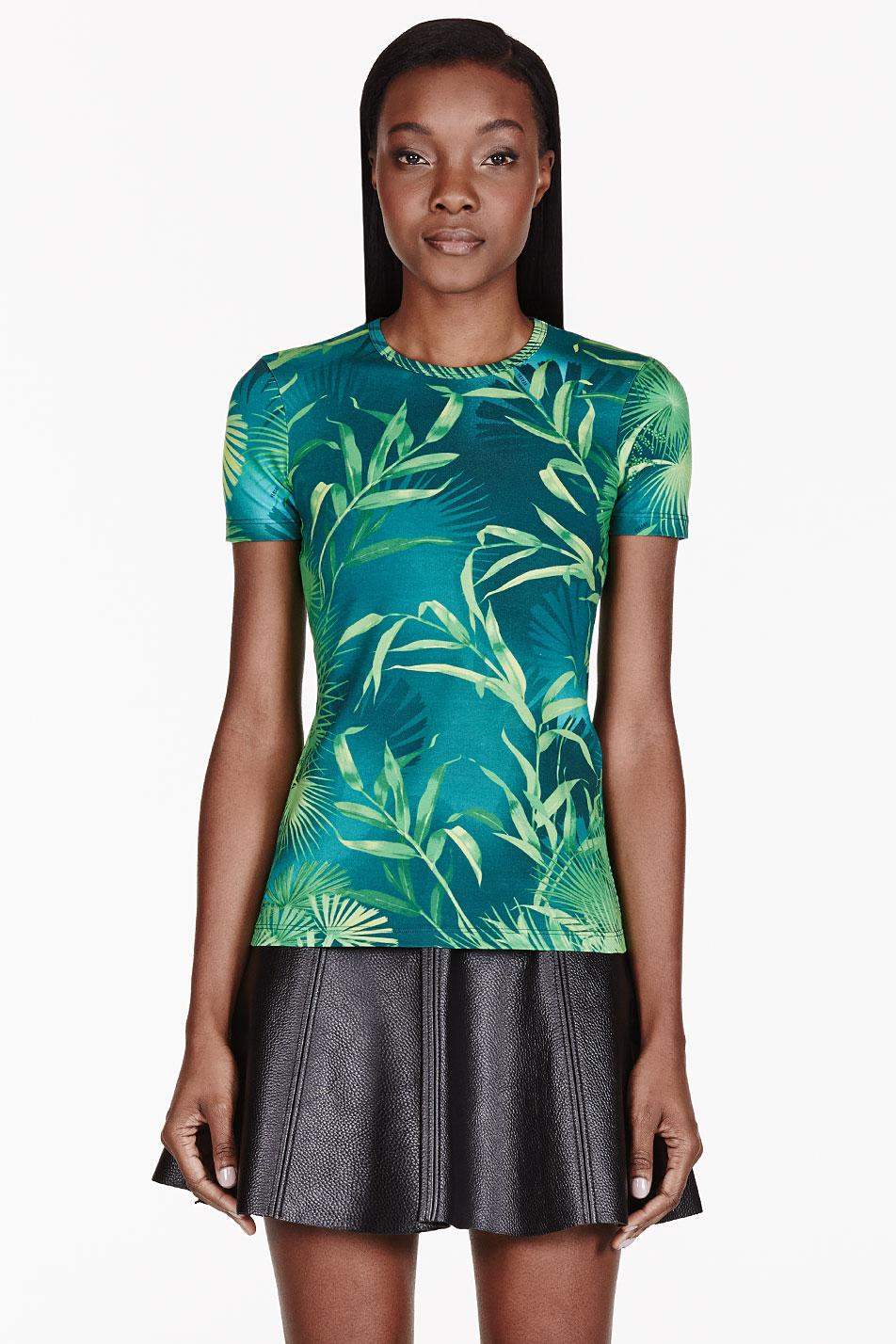 Versus green leaf print t_shirt