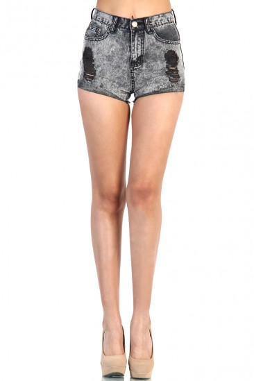 LoveMelrose.com From Harry & Molly | DISTRESSED HIGH WAISTED ACID WASH DENIM SHORT- BLACK