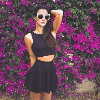 skirt beautiful black skater skirt crop tops purple flowers floral streetstyle