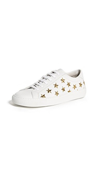 sneakers gold white shoes
