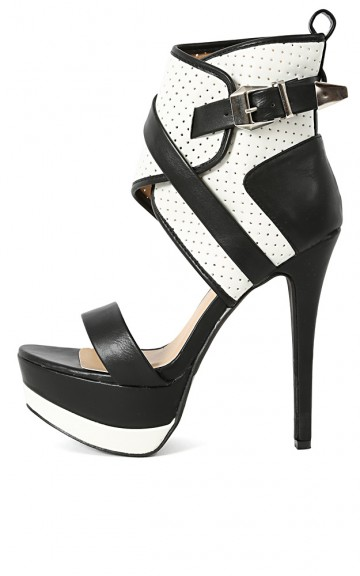 Liliana Elby-1 Perforated Buckle Heels | MakeMeChic.com