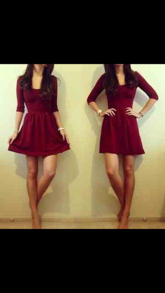 dress burgundy dress simple dress autumn/winter clothes burgundy