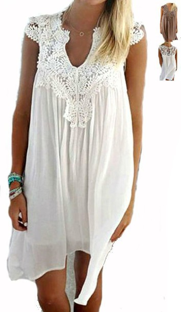 37f611e484b dress summer dress white dress lace dress sleeveless sleeveless dress mini  dress boho bohemian dress loose