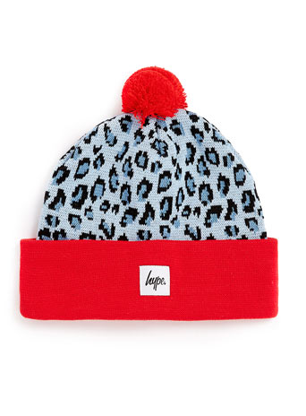 HYPE RED Leopard Beanie  - Hats - Shoes and Accessories - TOPMAN d439065e675