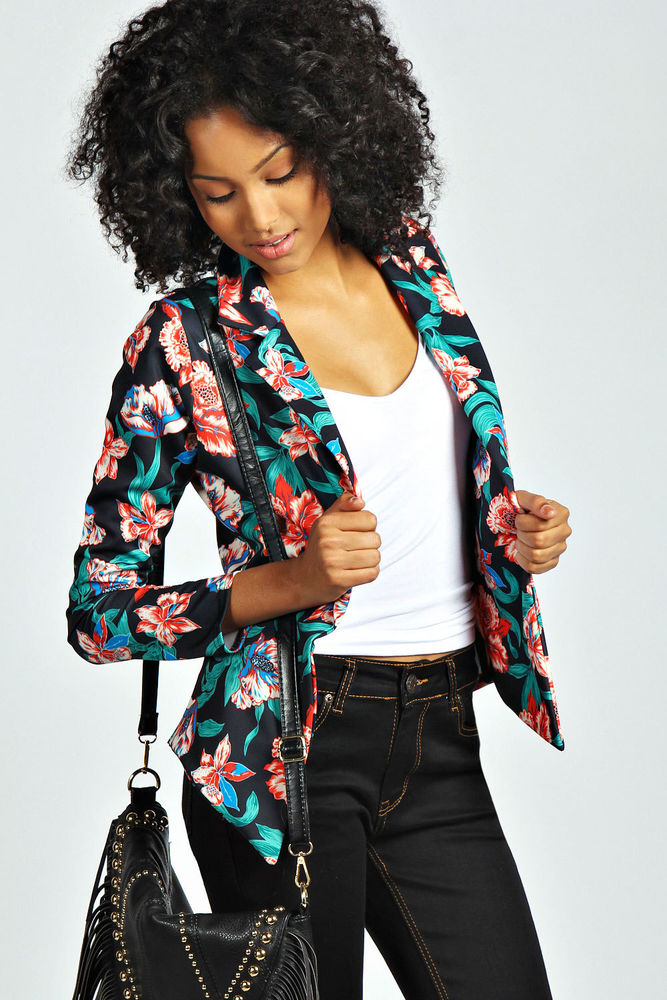 Boohoo Womens Lovisa Folk Floral Print Top Jacket Blazer in Black