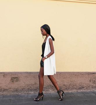sylvie mus blogger shorts vest black shoes leather shorts black and white