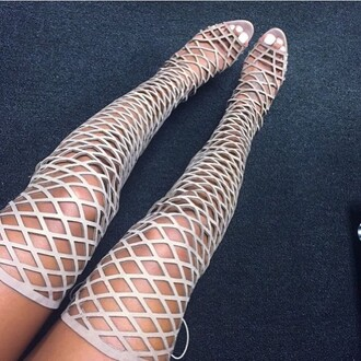 shoes cream white gladiators open toes thigh highs