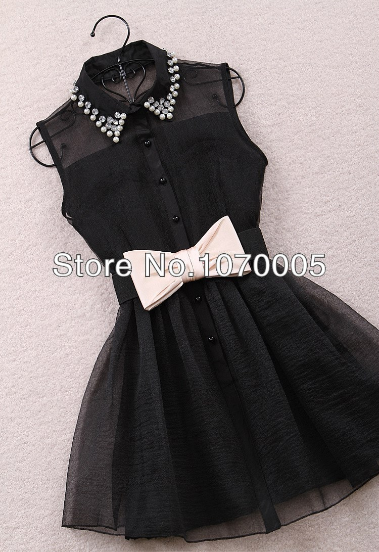 Free shipping 2013 new arrival fashion pearl diamond small lapel gauze waist tutu one piece dress 2 color 2 size hot sell-in Dresses from Apparel & Accessories on Aliexpress.com