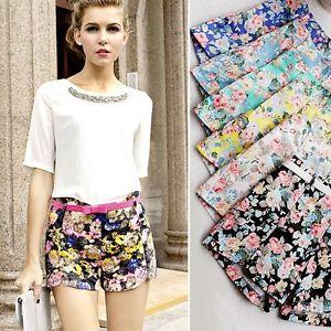 Sexy New Womens Floral Elastic High Waist Pants Shorts Mini Hot Summer Pants | eBay