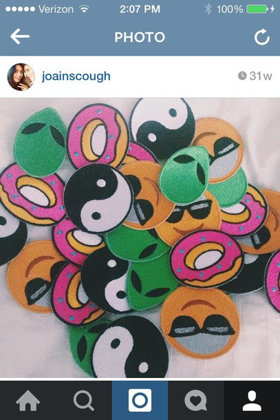 jewels patch patch iron on emoji print yin yang donut indie hippie boho grunge diy