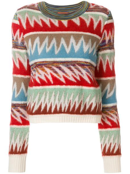 Missoni - spike patterned striped jumper - women - Nylon/Rayon/Mohair/Alpaca - 40, Nylon/Rayon/Mohair/Alpaca