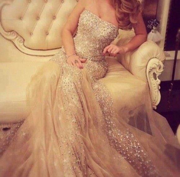 long dress rhinestone long cream vream dress dress