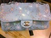 bag,chanel,clutch,silver,rhinestones,diamonds,dream,karl lagerfeld,baby blue,blue
