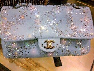 bag blue chanel clutch silver rhinestones diamonds dream coco karl lagerfeld baby blue