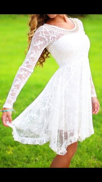 dress white flowy lace dress