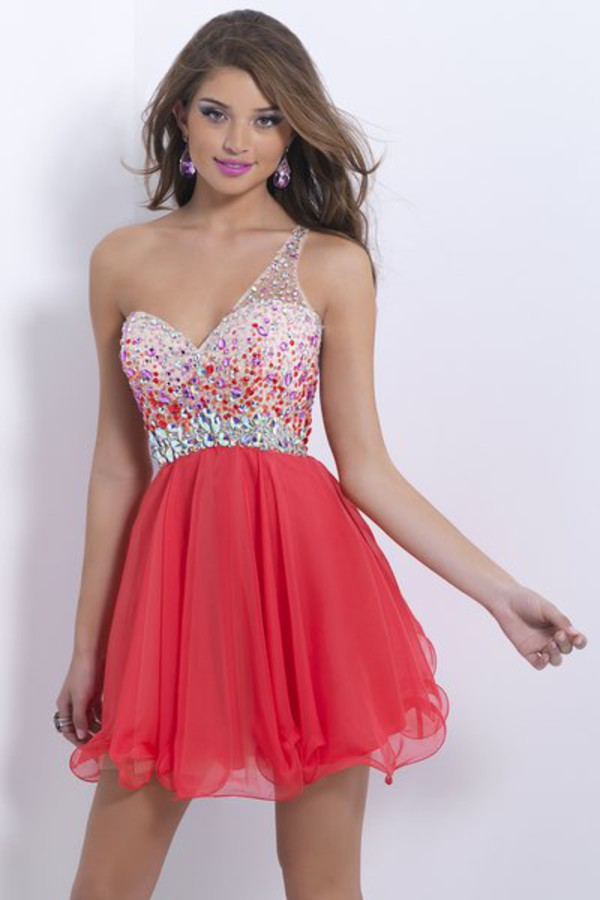 one shoulder dress crystal dress homecoming dress red cocktail dress 2014 red mini dresses