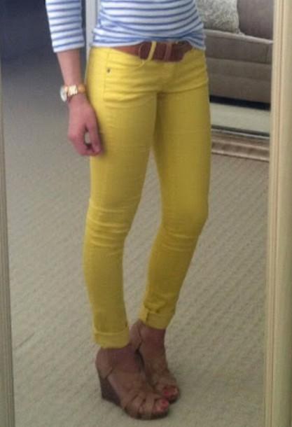 yellow jeans pants