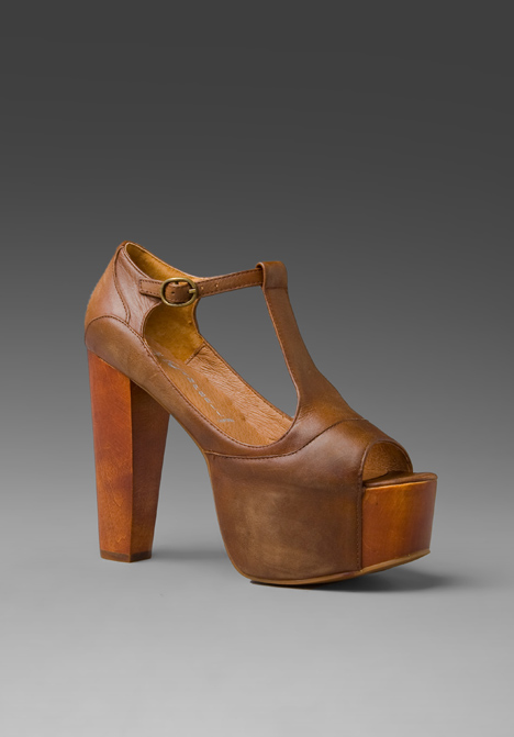 Jeffrey campbell foxy platform in brown/wood at revolve clothing