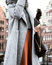 coat,tumblr,grey coat,pants,brown,rust,wide-leg pants,bag,louis vuitton,louis vuitton bag,top,grey top,scarf,grey scarf,leather gloves,gloves