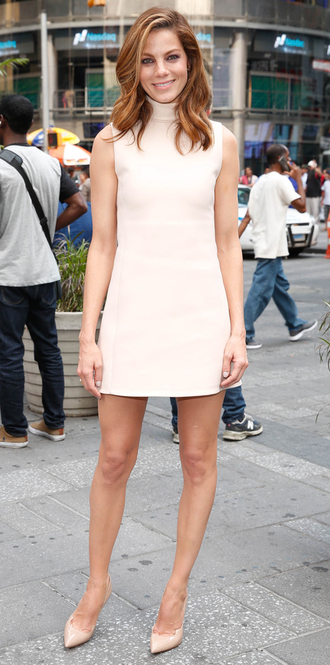 dress mini dress michelle monaghan pumps nude dress