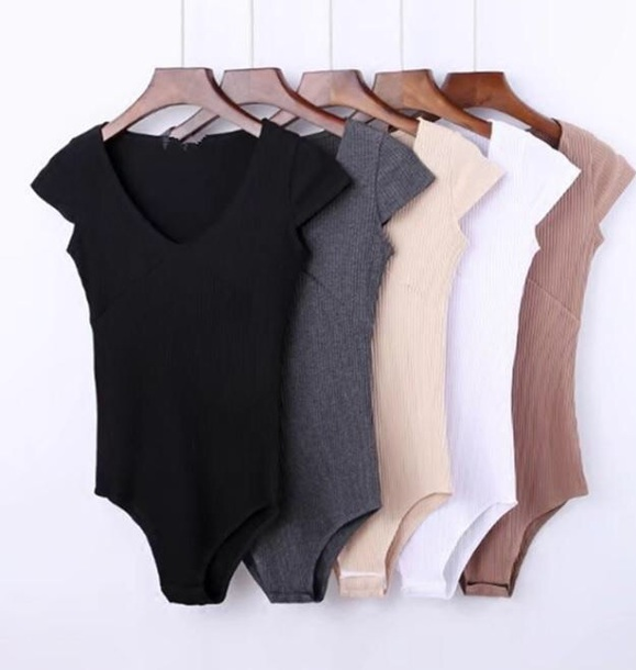 romper girly girly wishlist colorful one piece bodysuit knit black grey nude white