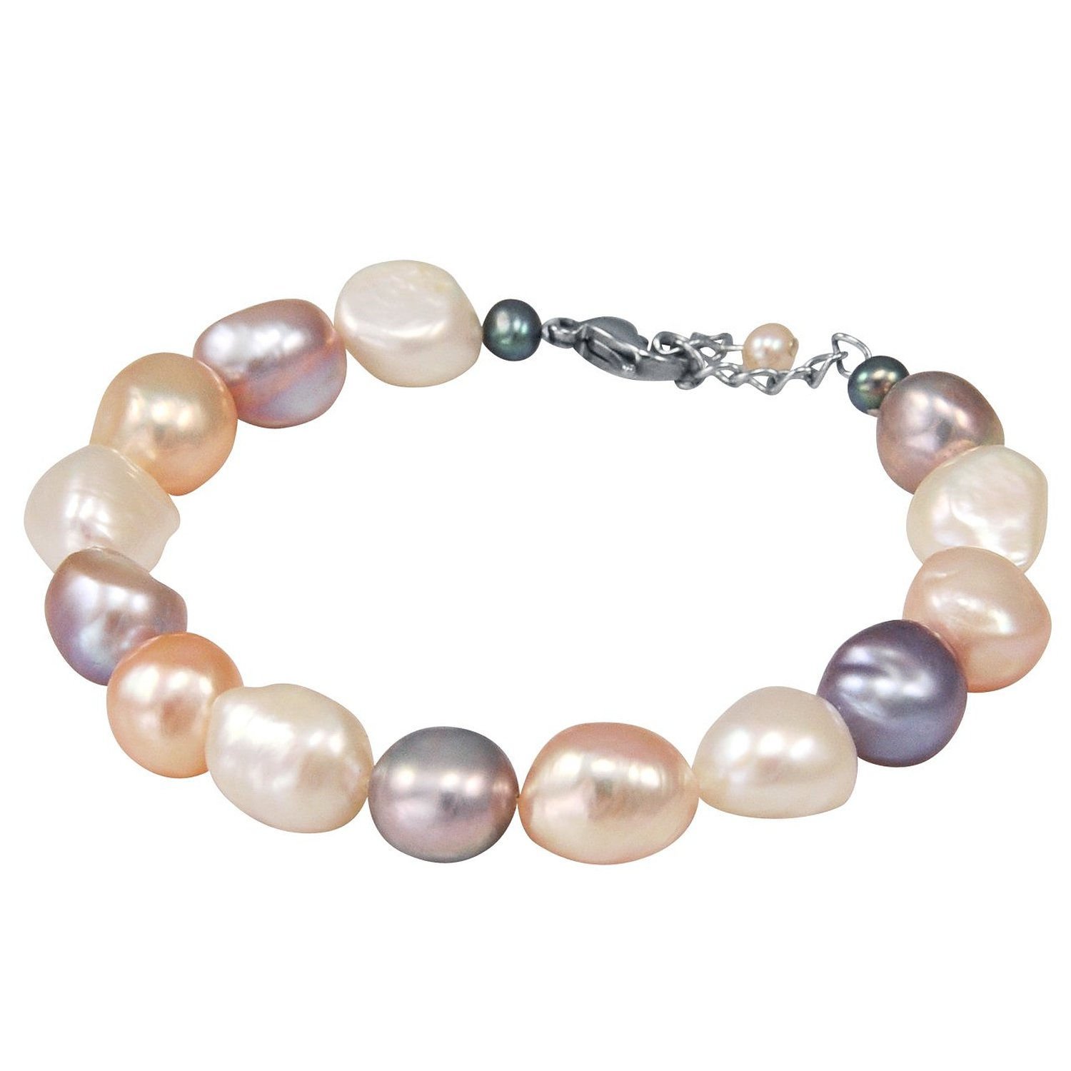 "9mm cultured pearl bracelet w. stainless steel clasp 7"" with 1"" chain tail: jewelry"