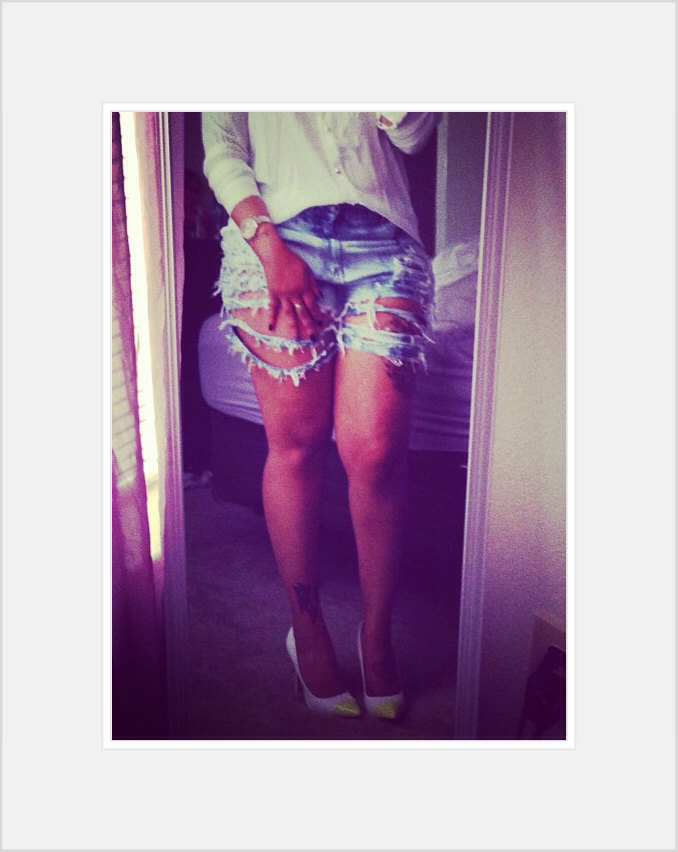 On sale blue jean denim ripped high waisted shorts fringe distressed.