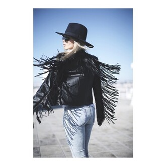 jacket missguided fringing festival biker jacket black leather jacket fringed jacket black jacket leather jacket gypsy rock boho fringes