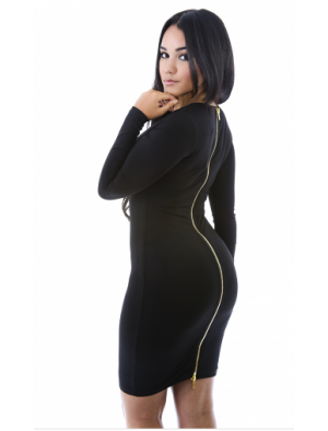 Zip Up Body Con Dress
