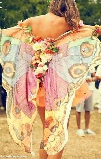 blouse festival wings butterfly bohemian hippie pastel