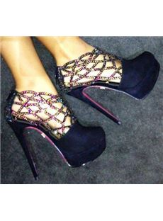 Chic Black Suede Stiletto Heel Cut-Outs Rhinestone Decoration High Heel Boots