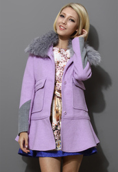 coat,detachable faux fur collar,frill hem,panel,purple