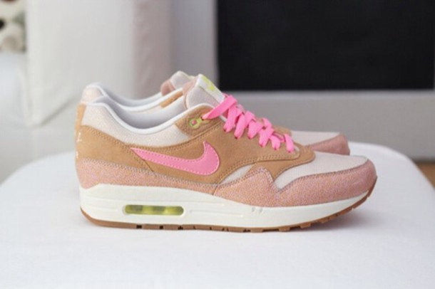 quality design dfe2f 2a498 shoes nike air max 1 pink gold brown shoes prm nike