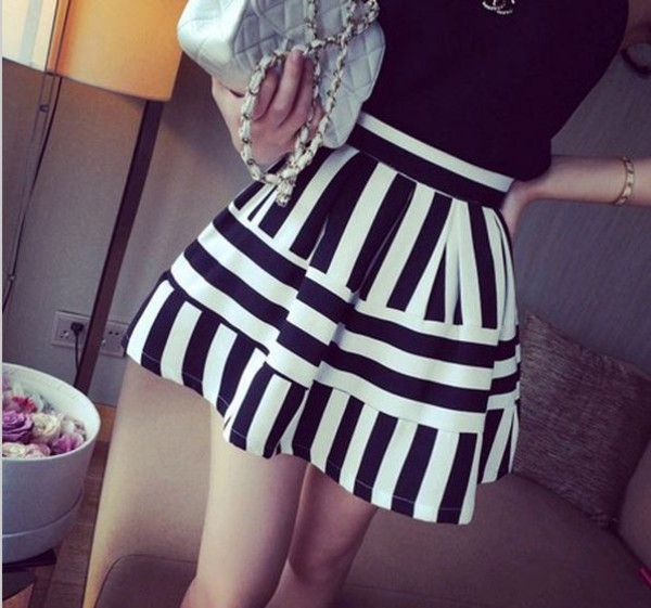 skirt black white stripes striped skirt