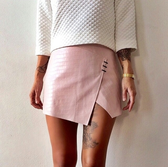 alternative pink skirt quilted white sweater fashion inspo on point clothing needhelp styled trending now trendy dope popular blogger popular sweater rad skorts