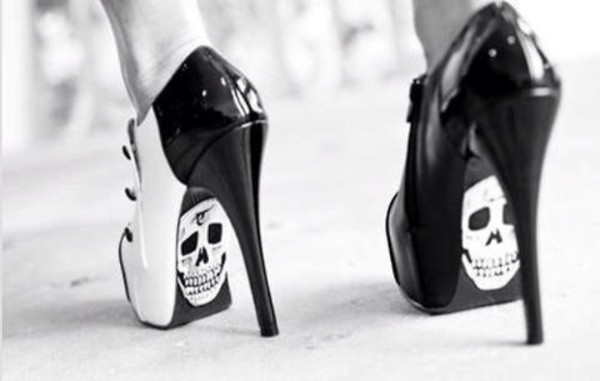 shoes skull skeleton black white red high heels halloween heels black heels shorts black high heels