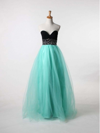 Chiffon and tulle strapless sweetheart ball gown long prom dress [b0089]