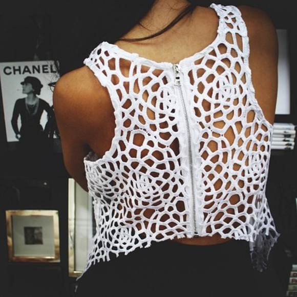 white tank top crop tops top tank top cutout shirt cut-out