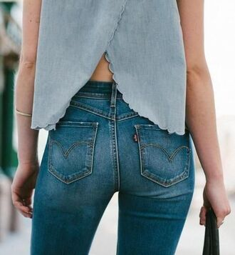 blouse scalloped slit jeans levi's blue shirt bag cross over scallop gold bands