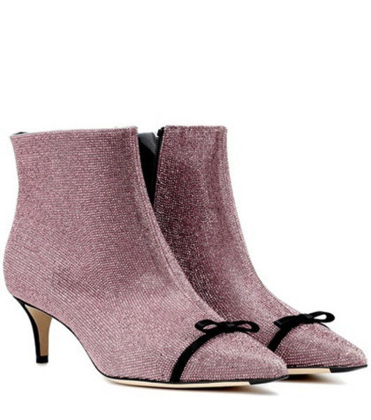 Marco De Vincenzo Crystal-embellished ankle boots in pink