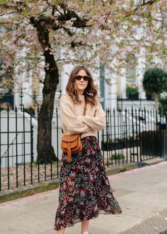 skirt sweater bag brown bag mini bag sunglasses