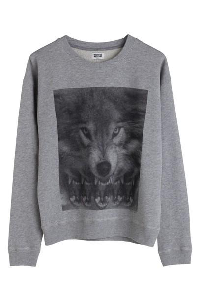 sweater sweatshirt wolf grey sweater