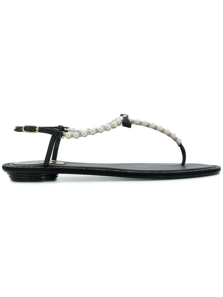 René Caovilla women pearl embellished sandals leather black shoes