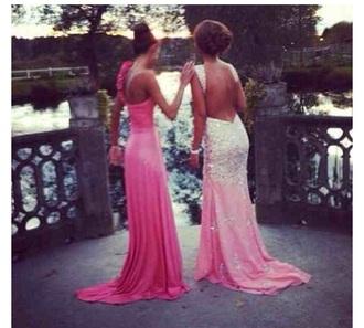 backless dress mermaid prom dresses dress homecoming dress pink dress pink diamante pretty promdress graduation dress fishtail dress mermaid dress