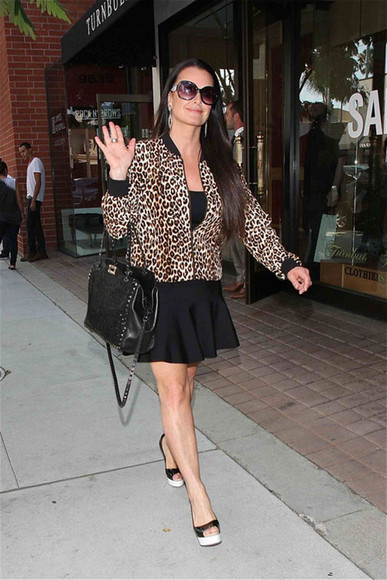 leopard print leopard print jacket jacket leopard jacket equipment celebrity inspired rhobh kyle kyle richards real housewives of beverly hills bomber jacket celebrity style celebrity style steal celebrity