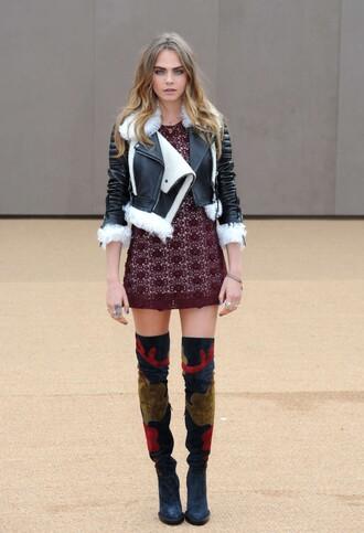 dress jacket boots cara delevingne fashion week 2015