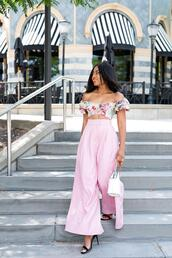 jadore-fashion,blogger,top,pants,bag,shoes,high heel sandals,sandals,pink pants,crop tops