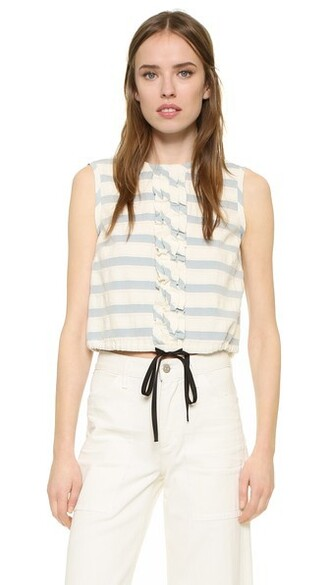 top ruffle drawstring white blue